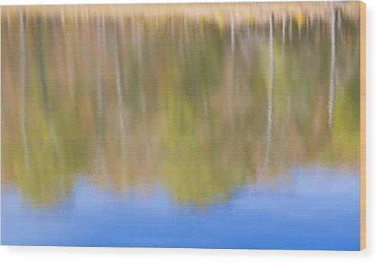 Fall Foliage Reflected In Lake Wood Print