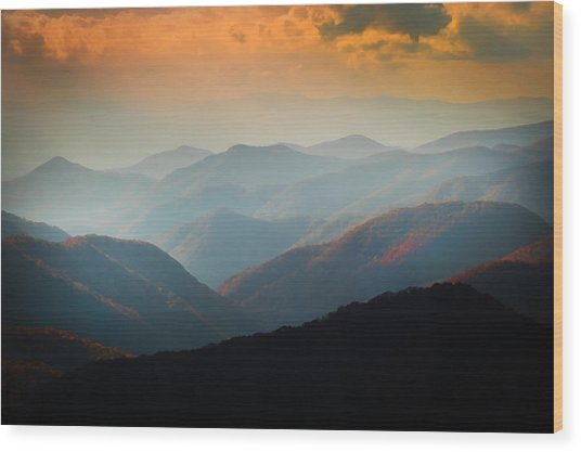 Fall Foliage Ridgelines Great Smoky Mountains Painted  Wood Print