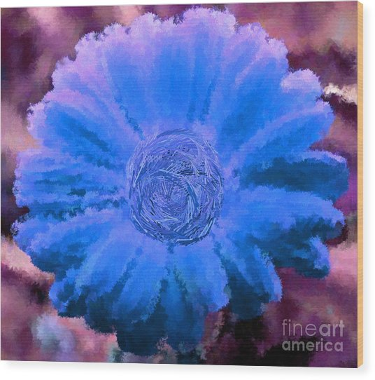 Fall For Me Purple Blue Wood Print by Holley Jacobs