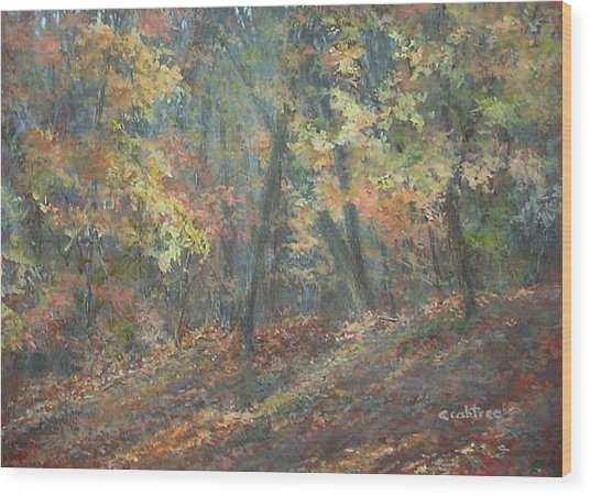 Fall Forest Wood Print by Elizabeth Crabtree