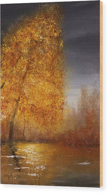 Fall Lake Reflections Wood Print