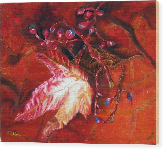 Fall Leaf And Berries Wood Print