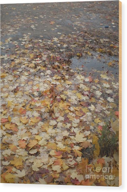 Fall Leaves And Puddle Wood Print