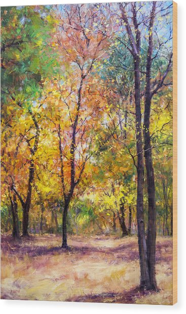 Fall Leaves At Indiana University Wood Print by Bill Inman