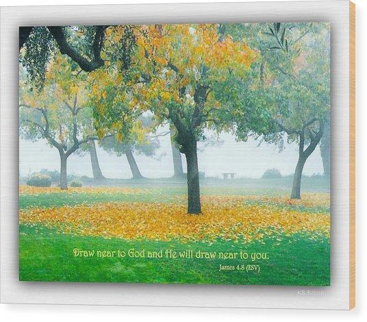 Fall Leaves W Scripture Wood Print