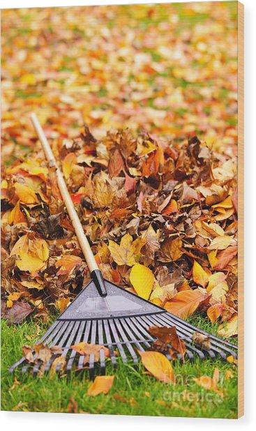 Fall Leaves With Rake Wood Print