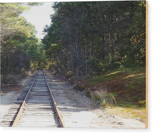 Fall Railroad Track To Somewhere Wood Print