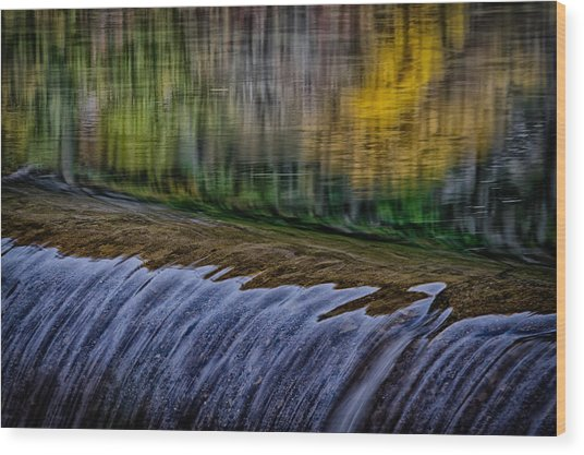 Fall Reflections At Tumwater Spillway Wood Print