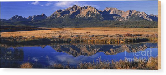 Fall Reflections Sawtooth Mountains Idaho Wood Print