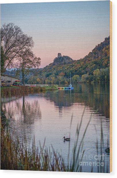 Wood Print featuring the photograph Fall Sugarloaf With Duck by Kari Yearous