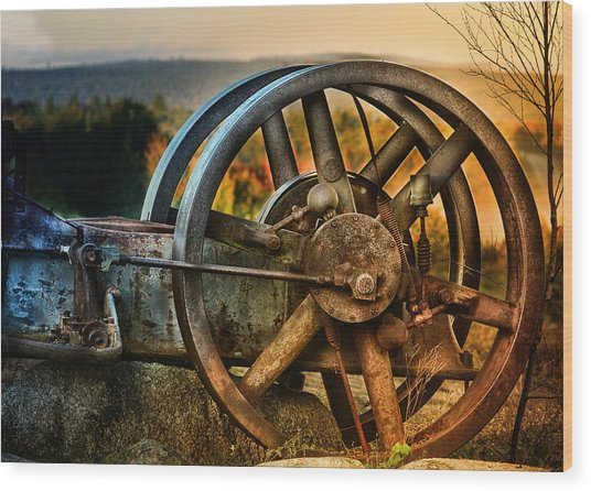 Fall Through The Wheels Wood Print