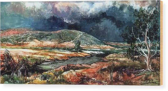 Fall Thunderstorm Approaching Wood Print