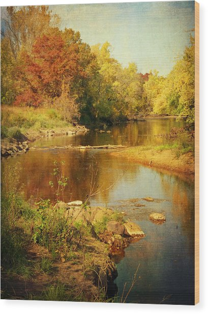 Fall Time At Rum River Wood Print