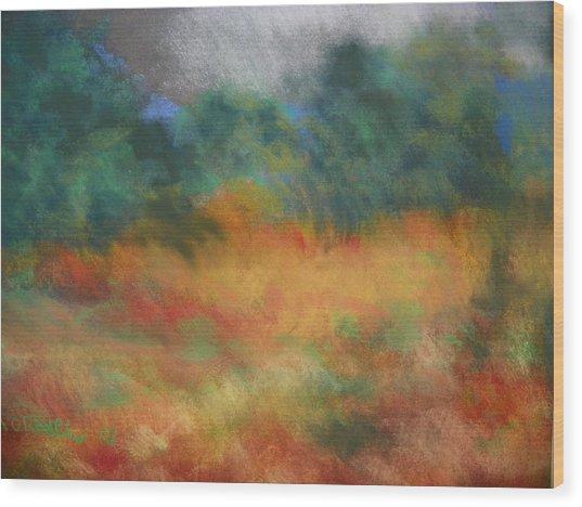 Fall Tonal Landscape Wood Print
