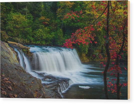 Fall Waterfall Wood Print by Griffeys Sunshine Photography