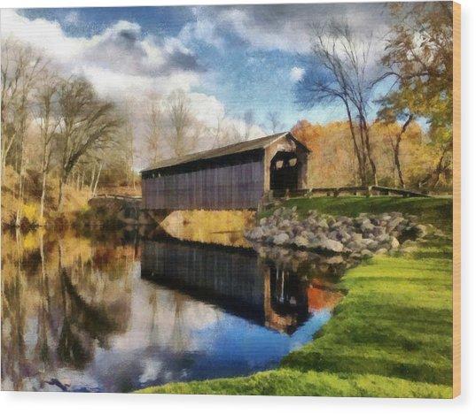 Fallasburg Bridge In Fall Wood Print