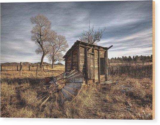 Fallen Windmill Wood Print