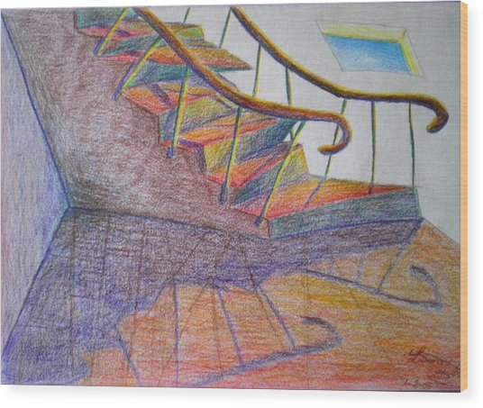 Falling Down The Stairs Wood Print