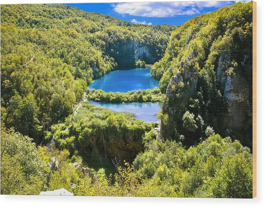 Falling Lakes Of Plitvice National Park Wood Print