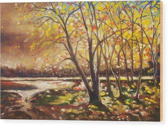 Falling Leaves Wood Print