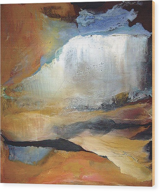 Falling Sky Ice Mountain Wood Print