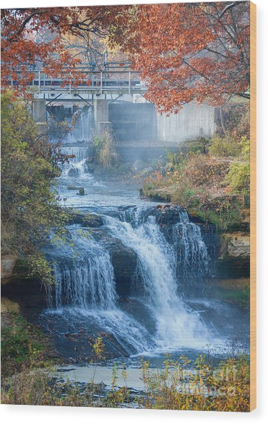 Wood Print featuring the photograph Falls At Pickwick Mill by Kari Yearous