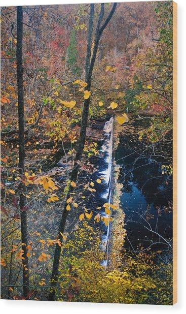 Falls In The Fall Wood Print