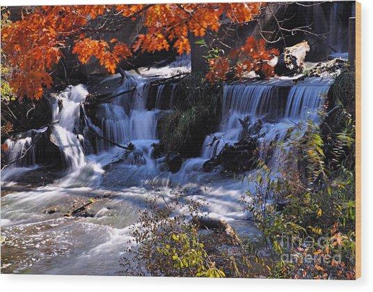 Falls In The Fall Wood Print