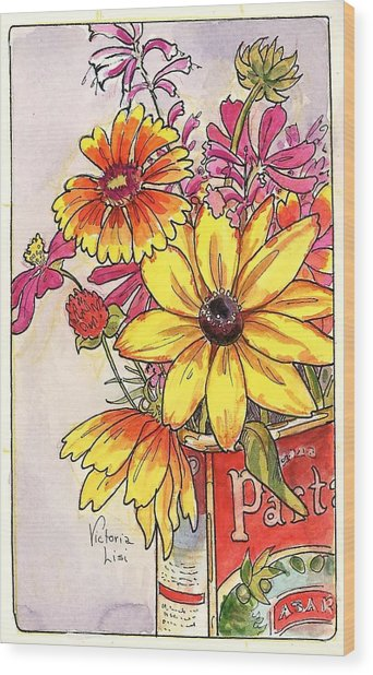 Fall's Last Bouquet Wood Print