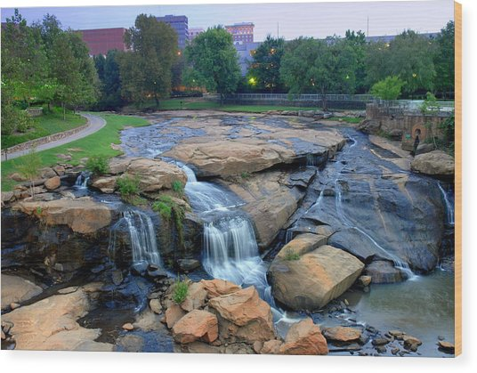 Falls Park Waterfall At Dawn In Downtown Greenville Sc Wood Print