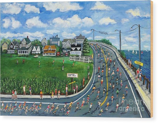 Falmouth Road Race Running Falmouth Wood Print