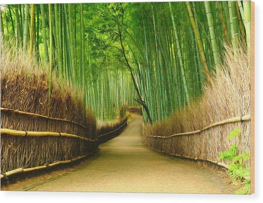 Famous Bamboo Grove At Arashiyama Wood Print