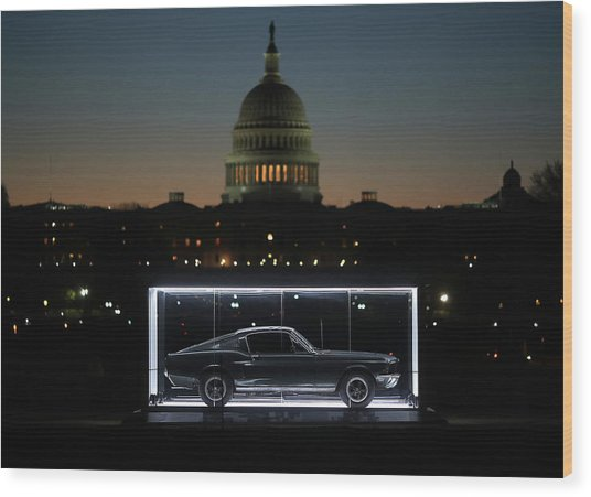 Famous Bullitt Mustang On Display On Wood Print by Mark Wilson