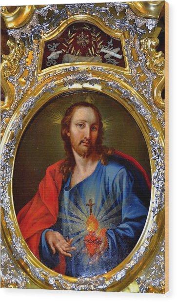 Famous Herz-jesu-bild In Jesuitenkirche In Innsbruck Wood Print