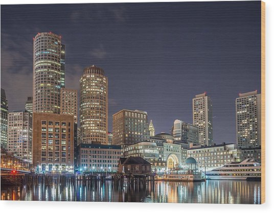 Fan Pier Boston Ma On A Hot July Night Wood Print