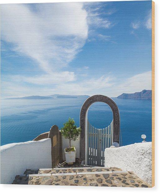 Fanastic View From Santorini Island Wood Print