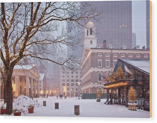 Faneuil Hall In Snow Wood Print
