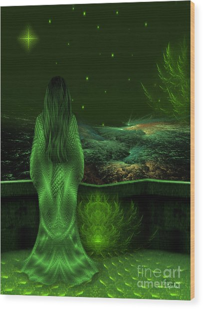 Fantasy Art - Wishing Upon A Star In A Green Night  By Rgiada  Wood Print