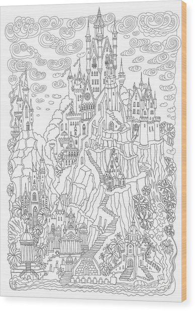 Fantasy Landscape. Fairy Tale Castle On Wood Print