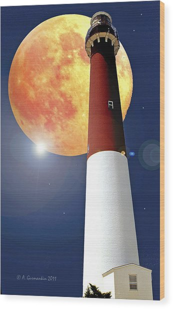 Fantasy Lighthouse And Full Moon Poster Image Wood Print