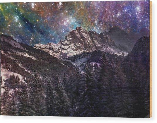 Fantasy Mountain Landscape Wood Print