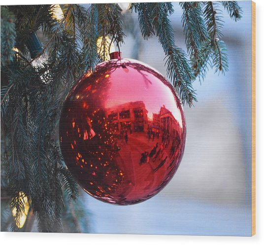 Faneuil Hall Christmas Tree Ornament Wood Print