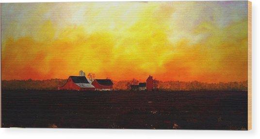 Farm At Dawn Wood Print