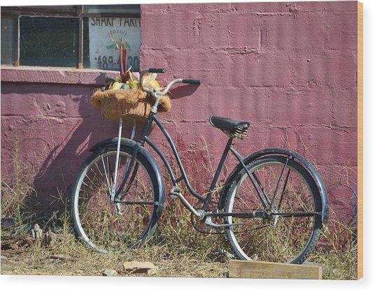 Farm Bicycle Wood Print