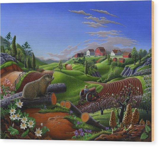 Farm Folk Art - Groundhog Spring Appalachia Landscape - Rural Country Americana - Woodchuck Wood Print
