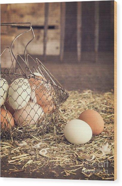 Farm Fresh Eggs Wood Print