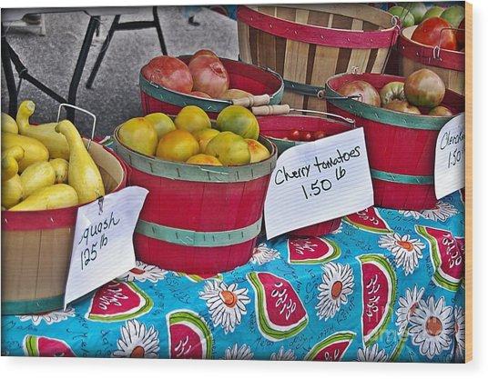 Farm Fresh Produce At The Farmers Market Wood Print by JW Hanley