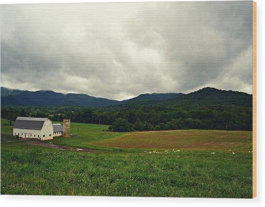 Farm In Swannanoa Nc Wood Print
