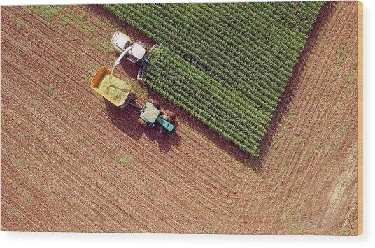 Farm Machines Harvesting Corn For Feed Or Ethanol Wood Print by JamesBrey