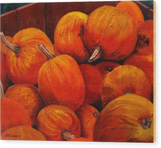 Farm Market Pumpkins Wood Print